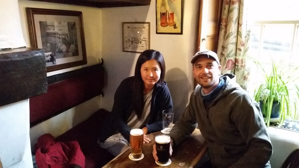 An English pub with pints in Robin hood's Bay in the UK